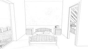 Zeichnungsschlafzimmer stock footage