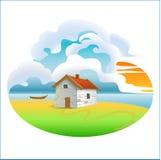 Zeichnungsskizzeabbildung des landwirtschaftlichen Hauses Stockbilder