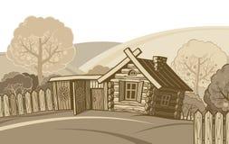 Zeichnungsskizzeabbildung des landwirtschaftlichen Hauses Stockfoto