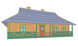 Zeichnungsskizzeabbildung des landwirtschaftlichen Hauses lizenzfreie abbildung