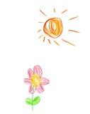 Zeichnungssonne und -blume der Kinder Stockfotos