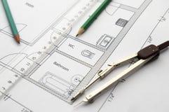 Zeichnungswohnung Stockfoto