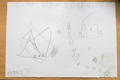 Zeichnungszusammenfassung des Kindes Stockfotografie