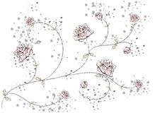 Zeichnungszweig mit Rosen Stockfotografie