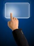 Zeigefinger, der auf hellblaues Viereck zeigt lizenzfreies stockfoto
