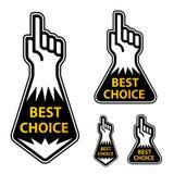 Zeigefinger, der die besten Wahlkennsätze anzeigt Stockfotos