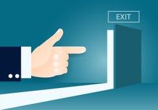 Zeigefinger des Geschäftsmannes zeigend auf das Licht auf die Tür Stockfotografie