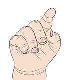 Zeigefinger einer Hand des Kindes Stockbild