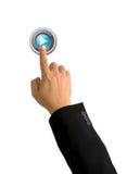 Zeigefinger-Stoßspieltaste auf Weiß Lizenzfreie Stockfotografie