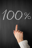 Zeigefingerpunkt bei einem 100-Prozent-Titel Stockbilder