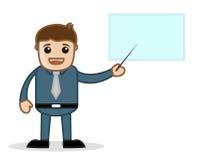 Zeigen auf Darstellung - Büro und Geschäftsleute Zeichentrickfilm-Figur-Vektor-Illustrations-Konzept- Stockbilder
