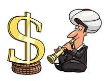 Zeigen auf das Geld Stockbild
