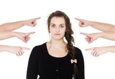 Zeigen auf eine Frau Lizenzfreies Stockbild