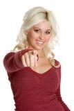 Zeigen der blonden Frau Lizenzfreie Stockfotos