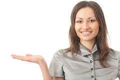 Zeigen der Geschäftsfrau Stockfoto