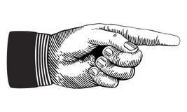 Zeigen der Hand Stockbild