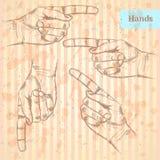 Zeigen der Hand, Vektorhintergrund in der Skizzenart Stockfoto