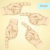 Zeigen der Hand, Vektorhintergrund in der Skizzenart Lizenzfreie Stockfotografie