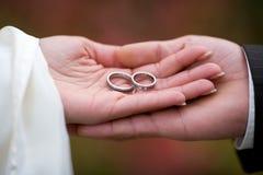 Zeigen der Hochzeitringe Lizenzfreie Stockfotografie