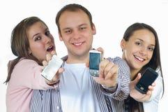 Zeigen der Telefone Stockfotografie