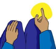 Zeigen des Fingers in Richtung zum Mekka Lizenzfreies Stockfoto