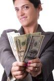 Zeigen des Geldes Stockbild