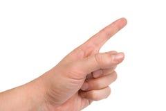 Zeigen des menschlichen Fingers Stockbild