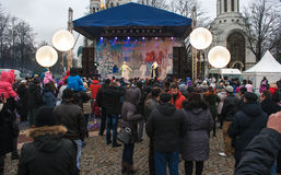 Zeigen Sie im Marktplatz während der Feier des neuen Jahres Stockfotos