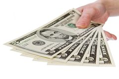 Zeigen Sie mir das Geld, 5 Dollar Lizenzfreie Stockfotos