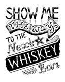 Zeigen Sie mir die Weise zu gezeichneter Beschriftung der Whisky-Stange Hand Stockfotografie