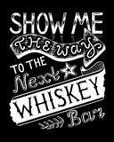 Zeigen Sie mir die Weise zu gezeichneter Beschriftung der Whisky-Stange Hand auf schwarzem Hintergrund Stockbilder