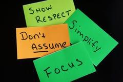 Zeigen Sie Respekt, Don, das ` t annehmen, vereinfachen Sie und fokussieren Sie Lizenzfreies Stockfoto