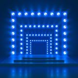 Zeigen Sie Showkasino-Vektorhintergrund mit Stadium und heller Dekoration Glänzendes Tanztheaterpodium stock abbildung