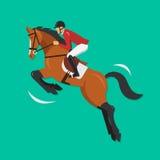Zeigen Sie springendes Pferd mit Jockey, Reitersport Stockbild