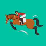 Zeigen Sie springendes Pferd mit Jockey, Reitersport Stockfoto