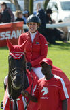 Zeigen Sie springendes Pferd und Reiter - Sieger Lizenzfreie Stockbilder