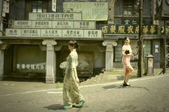 Zeigen in verlassenen Filmstandorten Stockbild