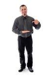 Zeigen, zum des Produktes zu löschen Mann im Hemd und in der Gleichheit Lizenzfreies Stockfoto