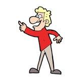 zeigender und lachender Karikaturmann Stockfotos