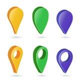 Zeiger-Vektor der Karten-3d Bunter Satz moderne Karten-runde Zeiger Weißer Hintergrund Navigator-Icon Isolated Ons mit weichem Sc Stockfoto