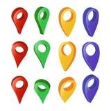 Zeiger-Vektor der Karten-3d Bunter Satz moderne Karten-runde Zeiger Weißer Hintergrund Navigator-Icon Isolated Ons mit weichem Sc Lizenzfreie Stockfotografie