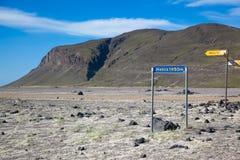 Zeiger zum Vulkan Hekla in Island stockfotos