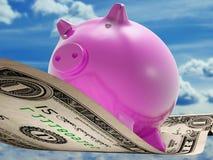 Zeigt Dollar Anmerkungs-Schwein-Wohlstand und Investition lizenzfreie abbildung