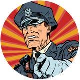 Zeigt ernste Polizeibeamtepop-arten-Avatara-Charakterikone vektor abbildung