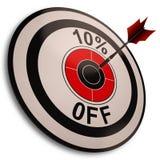 Zeigt 10 Prozent heruntergesetzt Reduzierung im Preis Lizenzfreie Stockbilder