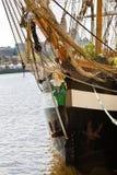 Zeil weg - historisch Iers lang schip Stock Afbeelding