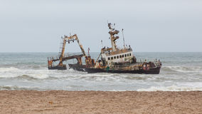 Zeila Shipwreck stranded on 25th August 2008 in Namibia Stock Image