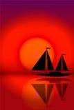 Zeilboot royalty-vrije illustratie