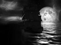 Zeilboot bij Maanbeschenen Nacht stock illustratie