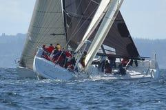 Zeilboot die op Puget Sound, Seattle, Washington State rennen Royalty-vrije Stock Fotografie